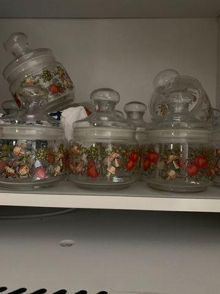 Glass jars in spice o life design got around 15 @$8 each