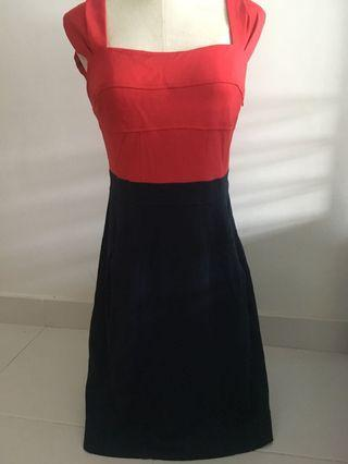 Red and navy dress S