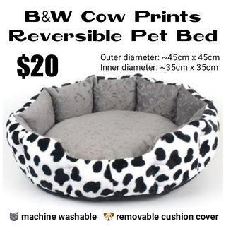 Reversible Pet Bed (B&W Cow Prints)