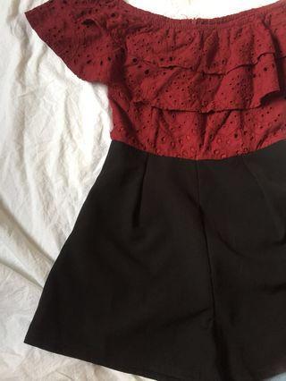 BN Burgundy lace crochet Off Shoulder Romper #EndgameYourExcess