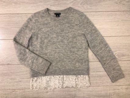 Club Monaco gray Wool Sweater with lace size xs