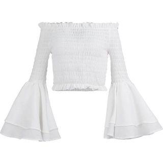 White stretchy cropped wide sleeve beach top 白色上衣女