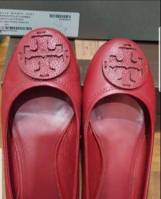 Tory Burch Red Leather Shoes Pumps Sz 37