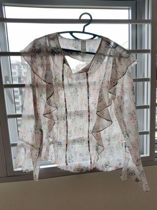 Sheer floral long sleeved top