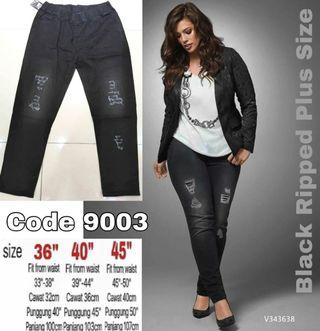 PLUS SIZE STRETCHABLE RIPPED JEANS - instock lited