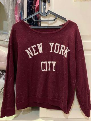 Sweater Pull and Bear Warna Merah Maroon