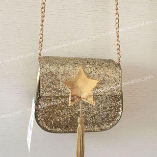 ☆Idalza☆ 歐美 兒童 成人 閃亮 造型 星星 金蔥 流蘇 迷你 單肩包 鍊條 鏈條包 斜背包 零錢包