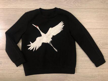 Supersoft Scuba Black Sweatshirt with white embroidered swan