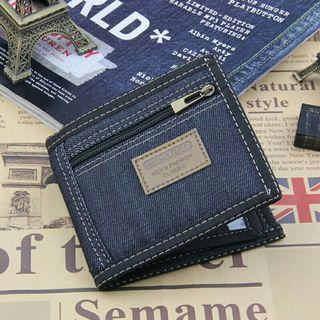 New Vintage Denim Blue Jeans Canvas Wallets Women / Men Quality Man Best Gift for Boyfriend Short Zipper Coin Bag Purses
