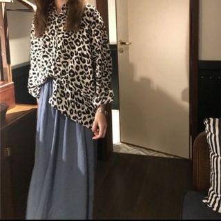 歐膩 小姐姐 豹紋 絲滑襯衫