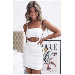 White cut out dress
