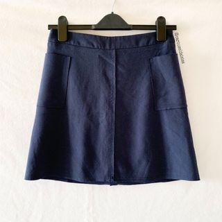Navy Pocket A Line Skirt (TCL)