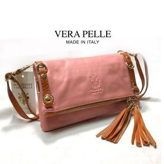 🚚 Vera Pelle Genuine Leather Crossbody Folding Bag