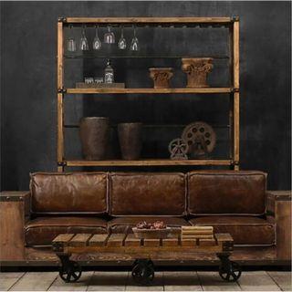 April hot sale Sofa 001 PO Retro Loft Solid Wood PU