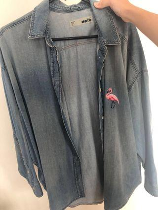 Topshop Light Denim Cardigan Size L w Flamingo