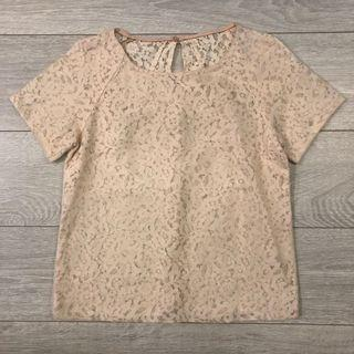 Baby pink Lace semi transparent sexy Top with mesh
