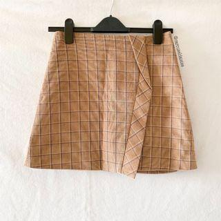 Korean Ulzzang Grid Beige A Line Skirt