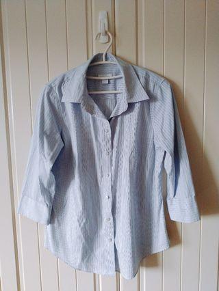 Lady Hathaway 清爽藍白條紋襯衫 七分袖