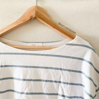 (Korean Ulzzang) White Blue Stripe Oversized Shirt