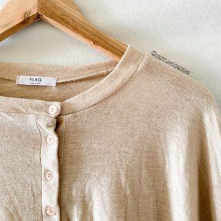 Beige Button Long Sleeve Top (Something Sweet)