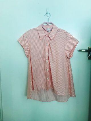 Orange 🍊 white strips Lalu office asymmetrical Collar Top