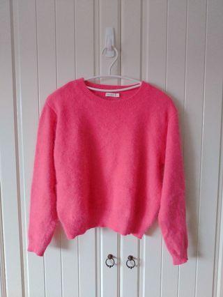 專櫃 Miss sixty 桃粉色 兔毛毛衣