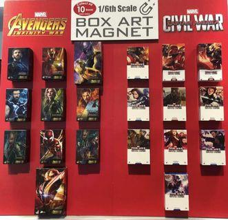 Hot toys infinity war and civil war magnet box art set (10 boxes)