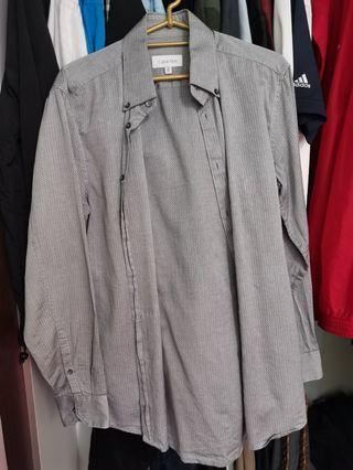 Calvin klein grey button down shirt