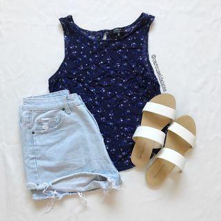 Cotton On Navy Sleeveless Floral Top