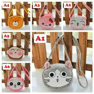 *FREE DELIVERY to WM only / Ready stock, more than 2 @ RM15 each* Kids animal sling bag each as shown design except no 3 / color.  Free delivery applied for this item.