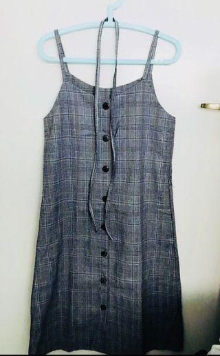 BN Checkered Button Down Long Dress