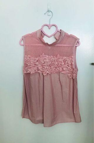 Dusty Pink Netted Rose lace Top