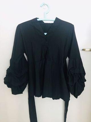 BN Black Kimono Bell Sleeves V Neck Office Top