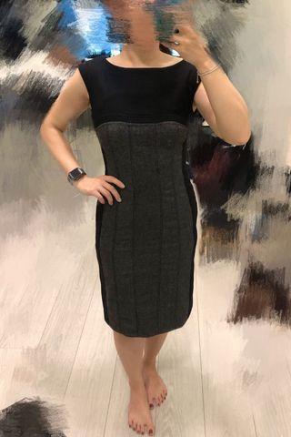 Karen Millen Wool Winter Black Grey Work Dress