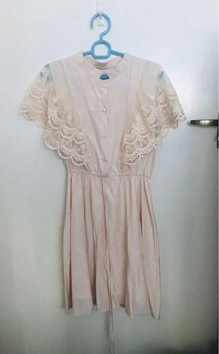 BN Sweet Pink French Lace Dress