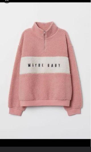 H&m collar sweater pink bukan zara bershka
