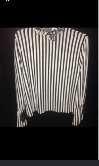 Zara stripes bw shirt bukan h&m bershka
