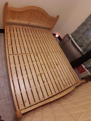 實木松木標準雙人床架
