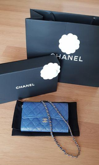 Chanel iridescent blue classic clutch ss19 with chain. Limited edition