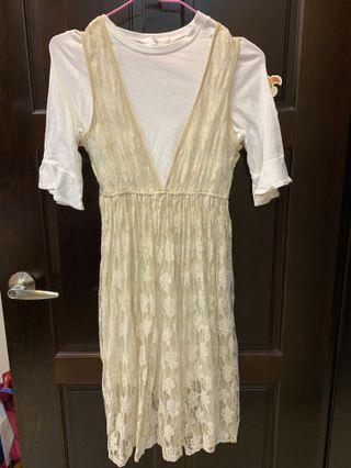 🚚 韓貨 蕾絲洋裝兩件套