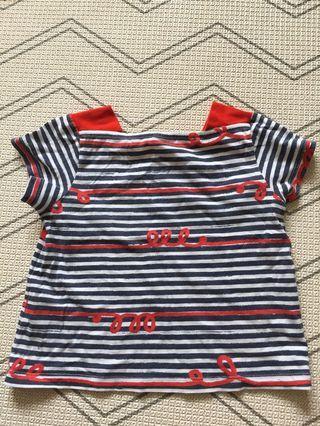 🚚 Petit bateau sailor red blue top t-shirt
