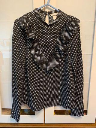 H&M polka dot ruffles top 波點上衣