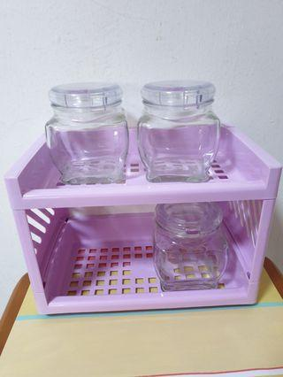 (New) Condiments with 2 Tiers Purple Rack + 3 Glass Containers