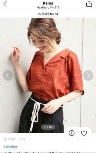全新! Heather 磚紅色薄襯衫