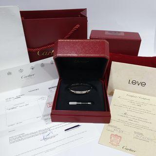 🚚 Authentic Cartier Love Bracelet White Gold Size 17