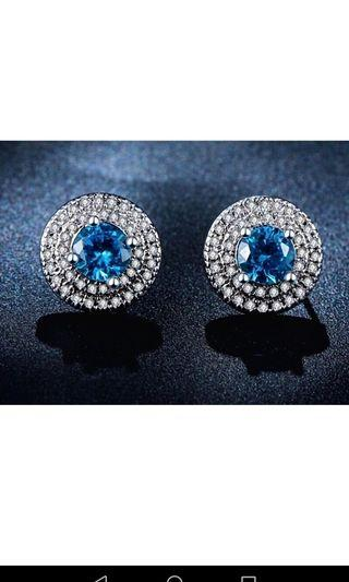 Light blue Earrings (Cubic Zirconia) for wedding or dinner