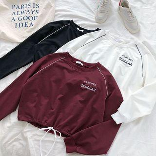 #183 ulzzang black/white/maroon cropped drawstring pullover sweater hoodie
