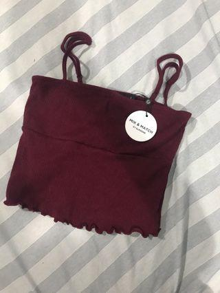 Glassons Burgundy Crop Cami Top