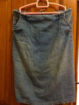 Denim skirt bahan stretch melar Lp 82cm