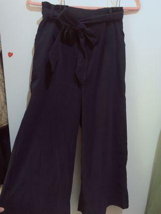 🚚 深藍色蜜桃絨寬褲